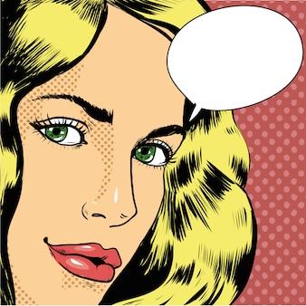 Frau mit sprechblase im retro-pop-art-comic-stil