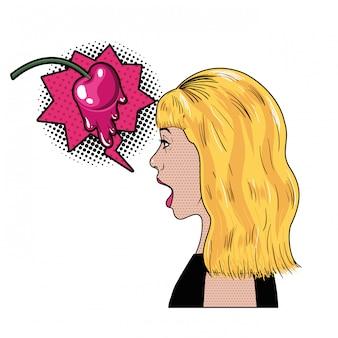 Frau mit sprechblase über comic