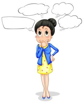 Frau mit sprechblasen
