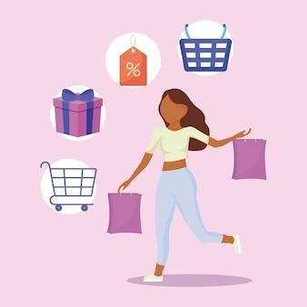 Frau mit tasche einkaufen und symbole festlegen
