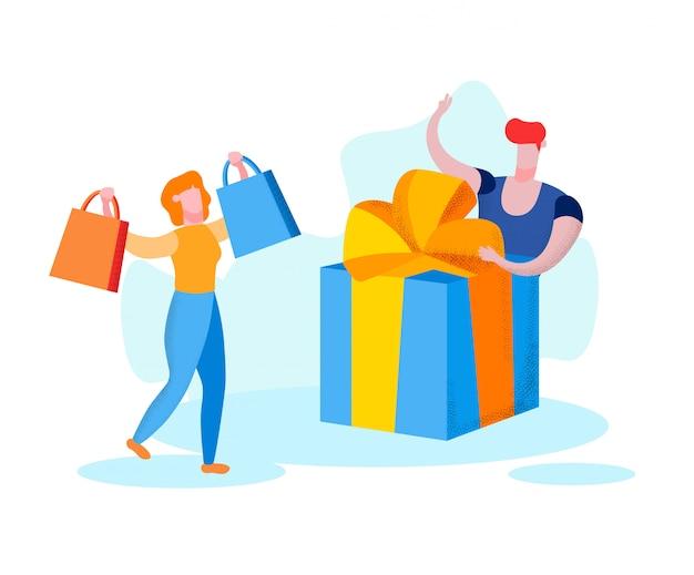 Frau mit taschen in händen und mann mit geschenkbox.