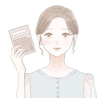 Frau mit taschenrechner. auf weißem hintergrund.