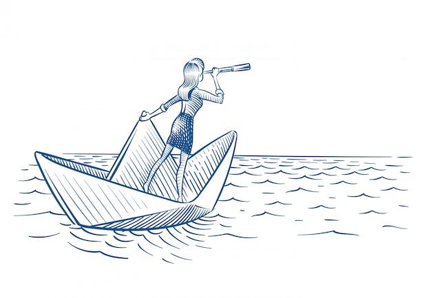 Frau mit teleskop, das auf papierboot segelt