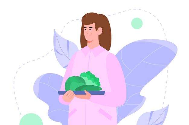 Frau mit teller mit grünem gemüse cartoon-vektor-illustration isoliert