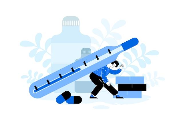 Frau mit thermometer und pillen. mädchen, das ein thermometer hält. krankheitskonzept