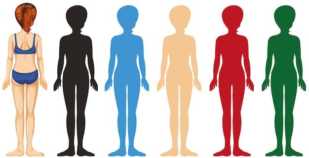 Frau mit unterschiedlicher farbsilhouette