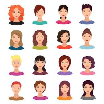 Frau mit unterschiedlicher frisur. schöner junger weiblicher gesichtsavatarsatz