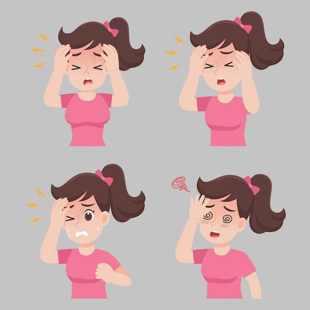 Frau mit verschiedenen krankheitssymptomen - kopfschmerzen, fieber, schwindel