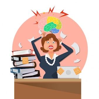 Frau mit viel papierkram bei der arbeit gestresst