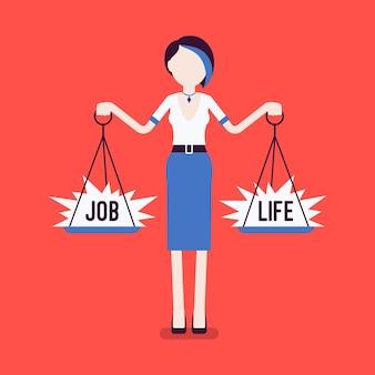 Frau mit waage zum ausgleich von job, leben. mädchen, das in der lage ist, harmonie, arbeitsvereinbarung, familienvereinbarung zu finden, gewichte in beiden händen zu halten und den richtigen lebensstil zu wählen. vektorillustration, gesichtslose charaktere