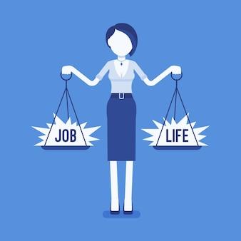 Frau mit waage zum ausgleich von job, leben. mädchen, das in der lage ist, harmonie, arbeitsvereinbarung, familienvereinbarung zu finden, gewichte in beiden händen zu halten und den richtigen lebensstil zu wählen.