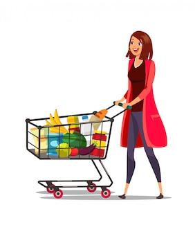 Frau mit wagen in der supermarktillustration
