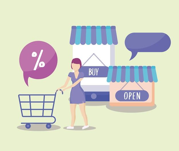 Frau mit warenkorb einkaufen und symbol festlegen