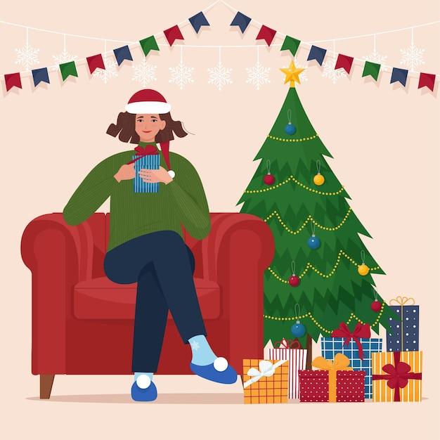 Frau mit weihnachtsmütze sitzt auf einem stuhl in der nähe von weihnachtsbaum flar vector illustration