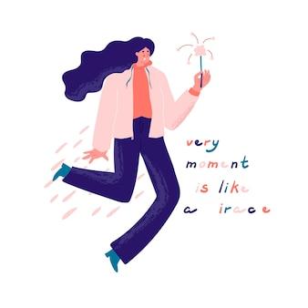 Frau mit wunderkerze in der hand und zitat jeden moment ist wie ein wunder positive botschaft glück