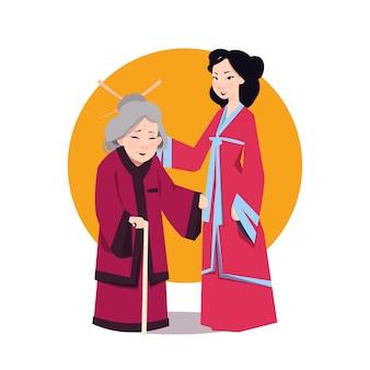 Frau mit zwei asiaten im japanischen kimono