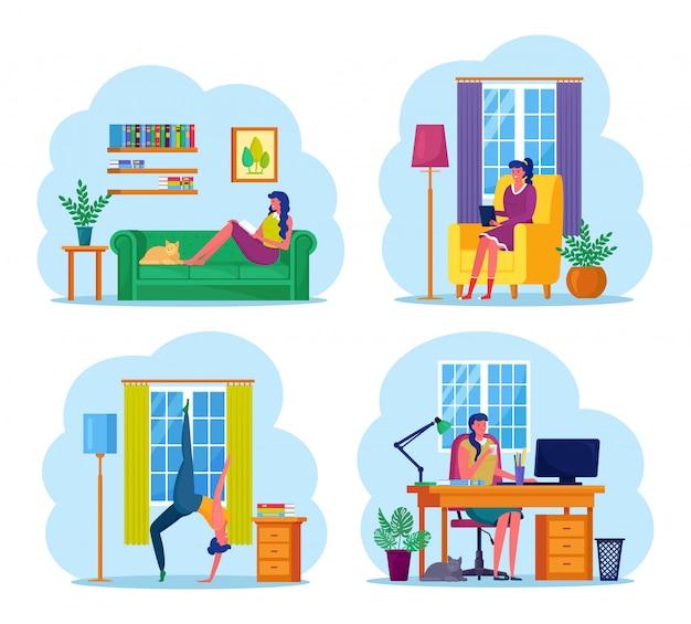 Frau mittleren alters, die zu hause arbeitet. charakter sitzt auf dem sofa, am schreibtisch, mit computer. mädchen, das yoga, pilates, übungen, dehnen tut. freiberufliche fernarbeit, online-studium, bildung.