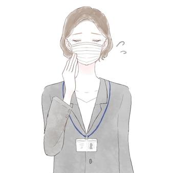 Frau mittleren alters im anzug besorgt über das tragen einer maske. auf weißem hintergrund.
