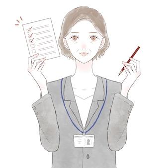Frau mittleren alters im anzug mit checkliste. auf weißem hintergrund.