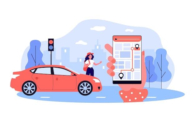 Frau nahe bei autogrußperson, die telefon mit karte hält mobile app zum auffinden von passagieren mit flacher vektorgrafik. carsharing, transportkonzept für banner, website-design oder landing page