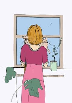 Frau nahe dem fenster mit katzen
