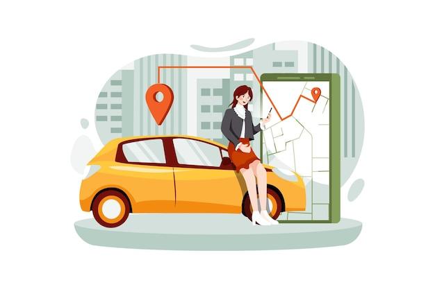 Frau nahe smartphone-bildschirm mit route und punktestandort auf einem stadtplan auf dem auto