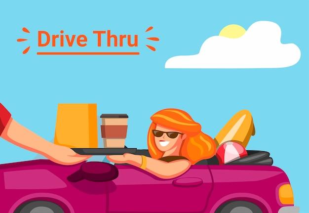 Frau nehmen ordnung in fahrt durch restaurierungsmittel mit fahrendem auto in den sommerferien in karikaturillustration