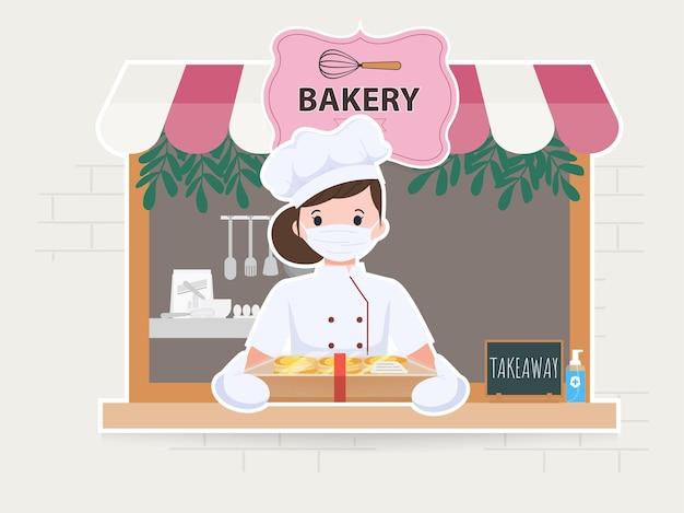 Frau niedlich am bäckereigeschäftscharakter