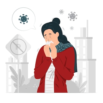 Frau niest mit dem virus herum