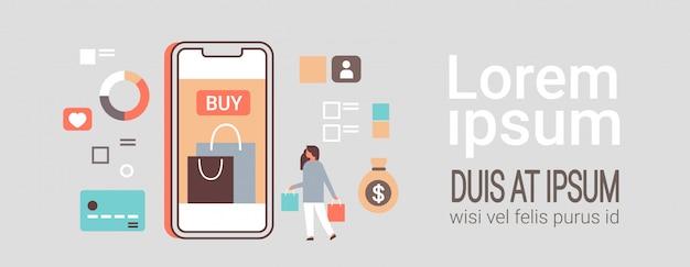 Frau online einkaufen mit mobilen anwendung