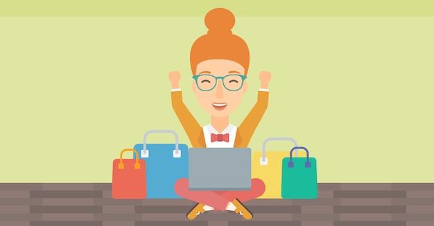 Frau online einkaufen.