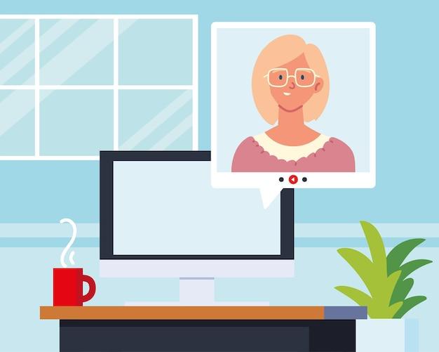 Frau online-videocomputer zu hause
