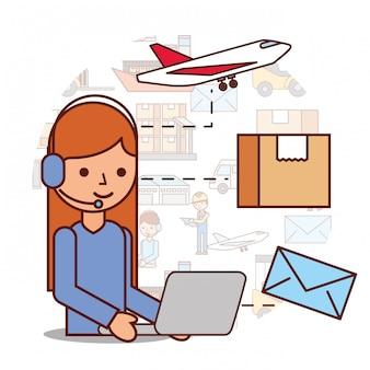 Frau operator logistische kopfhörer und box umschlag flugzeug