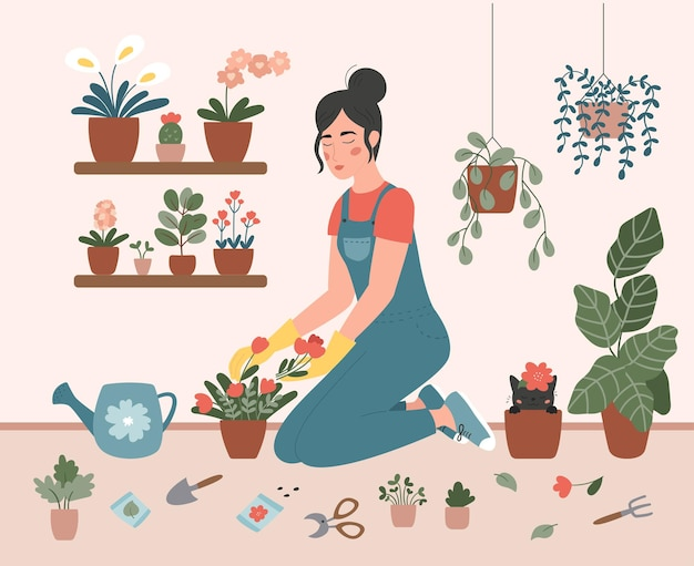 Frau pflanzt blumen in töpfen zu hause. mädchen ist im garten beschäftigt. handgemalt.