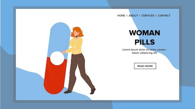 Frau pillen schmerzmittel für die behandlung von krankem vektor. patientenverhütung oder gesundheitspflege-frauen-pillen. charakter-mädchen mit gynäkologie-problem, das medikament für therapie-netz-flache karikatur-illustration hält