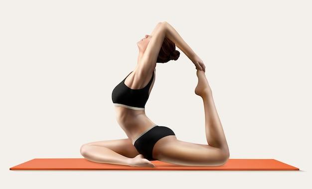 Frau praktiziert yoga auf yogamatte in 3d-darstellung