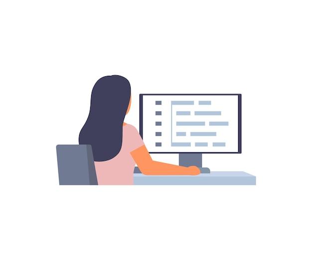 Frau programmierer software web-entwicklung auf computer mädchen arbeit skriptcodierung programmierung