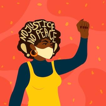 Frau protestiert gegen rassismus. keine gerechtigkeit kein frieden slogan schriftzug. kampf gegen rassendiskriminierung konzept. ende der weißen vorherrschaft.