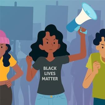 Frau protestiert im streik der schwarzen lebenssache