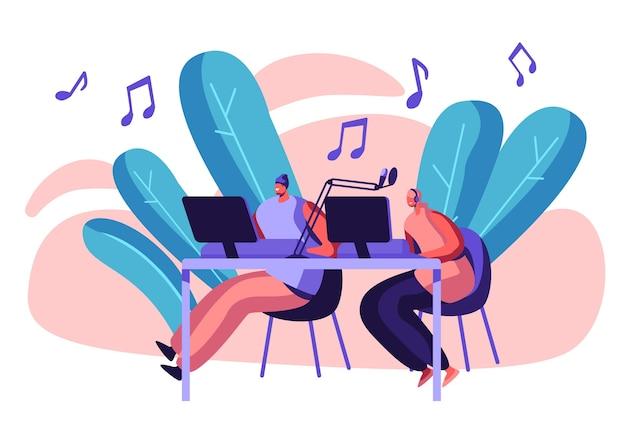 Frau radiomoderator in kopfhörern arbeiten in record studio konzeptillustration