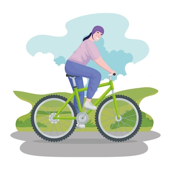 Frau reitet mountainbike