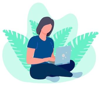 Frau remote-freiberuflerin mit computermädchen, die mit einem laptop sitzt und von zu hause aus arbeitet