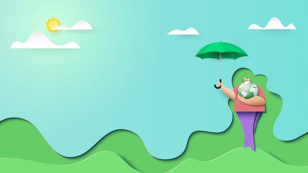 Frau retten grüne planetenlandungsseitenhintergrund-papierkunstart