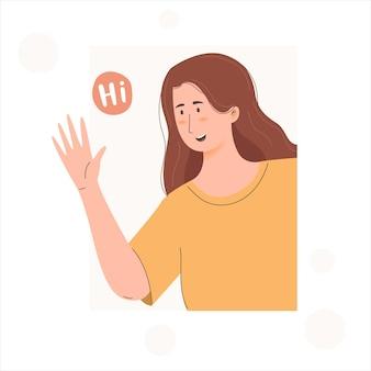 Frau sagt hallo junges mädchen winkt mit der hand und sieht glücklich aus