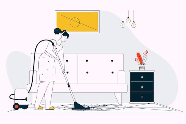 Frau saugt boden im wohnzimmer, hausreinigung. junges mädchen mit staubsaugerreinigungsraumboden, alltag und routine. vektorcharakterillustration der hausfrau-hauswirtschaft, hausarbeit tun