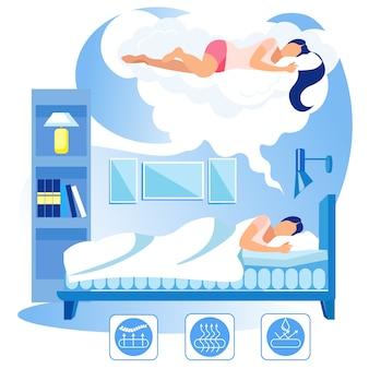 Frau schläft auf bequemer orthopädischer matratze.