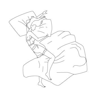 Frau schläft nachts im bequemen bett schwarze linie bleistiftzeichnung vektor. junges mädchen liegt und schläft auf gemütlicher orthopädischer matratze und kissen. charakter-dame ruht und schläft vor dem schlafengehen illustration
