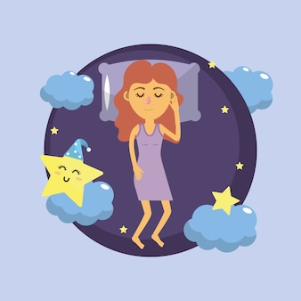 Frau schläft und gute nacht