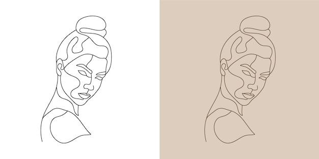 Frau schönheitsgesicht minimale handgezeichnete linie kunstdruck bereit wandkunst.