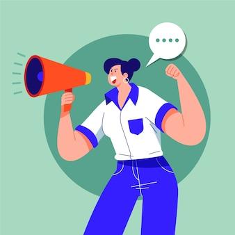 Frau schreit laut mit einem megaphon